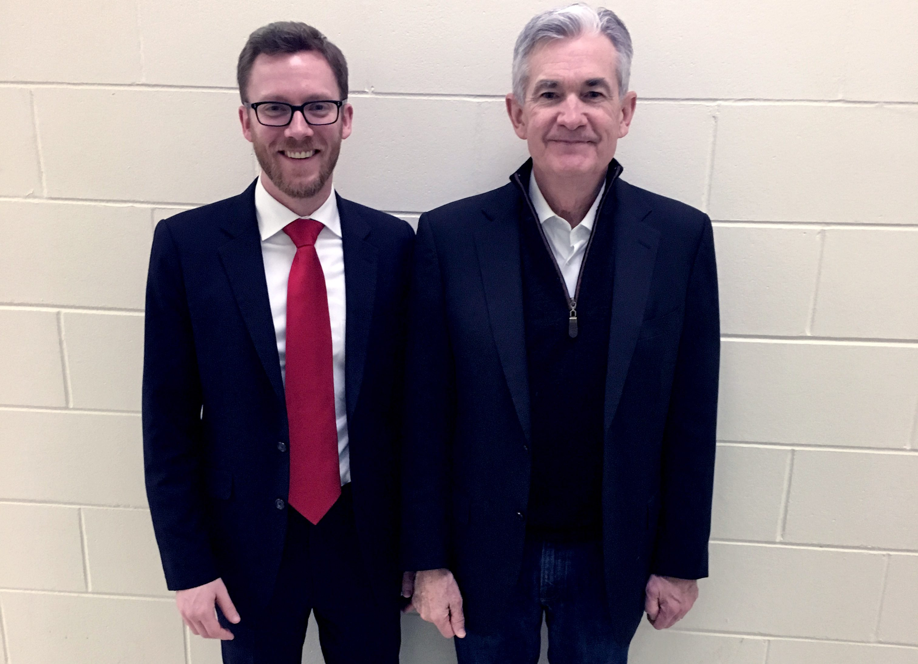 Photo of Andrew with Fed Chair Powell
