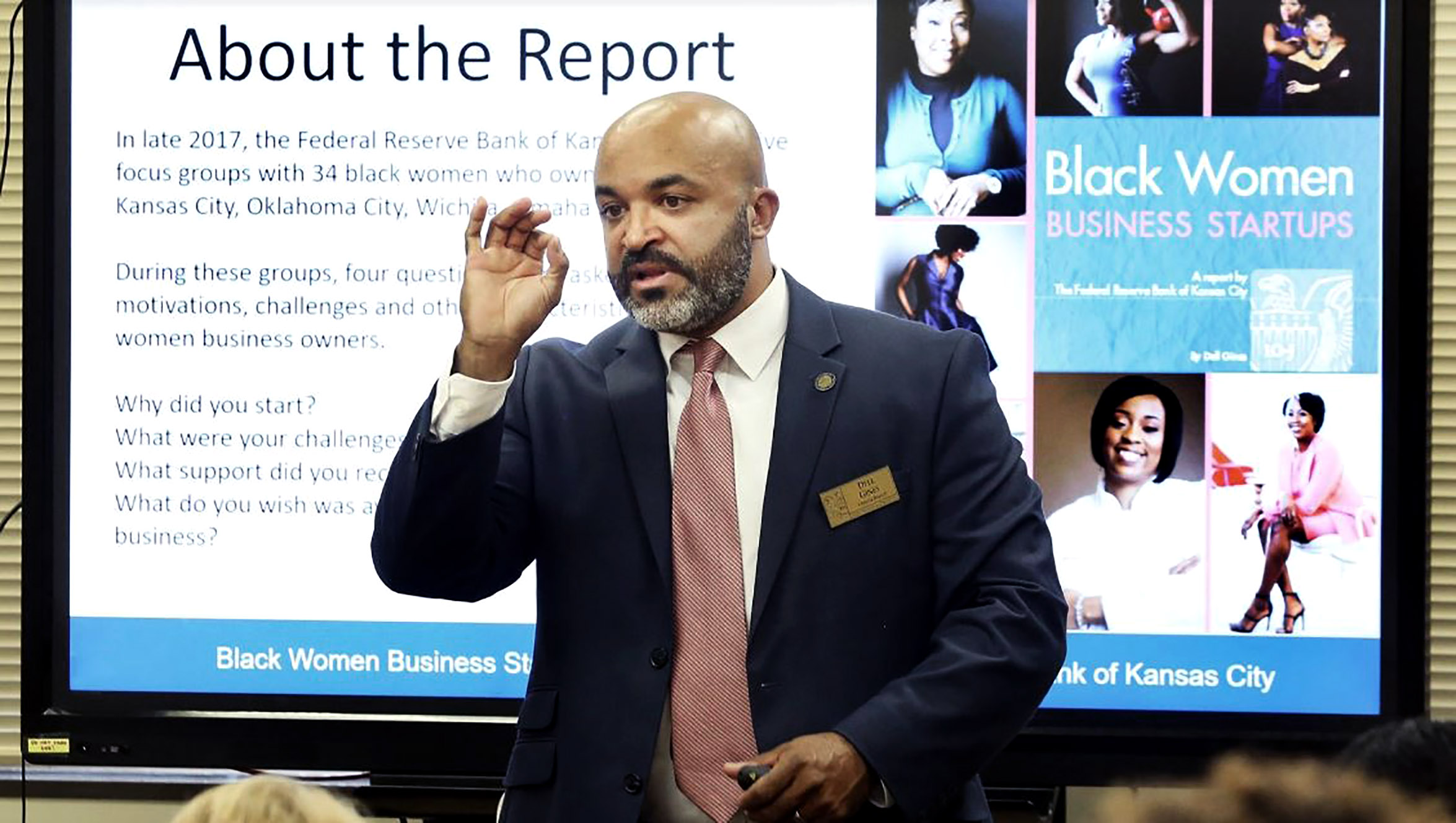 Dell Gines speaks at Greater Topeka Partnership offices