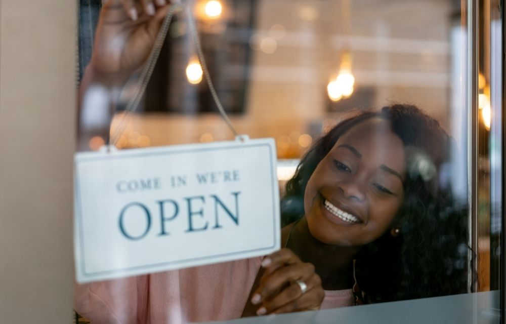 Black female small business owner opens her store